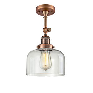 Large Bell Antique Copper 14-Inch LED Semi Flush Mount with Clear Dome Glass