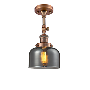 Large Bell Antique Copper 14-Inch LED Semi Flush Mount with Smoked Dome Glass