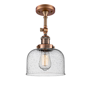 Large Bell Antique Copper LED Semi Flush Mount with Seedy Dome Glass