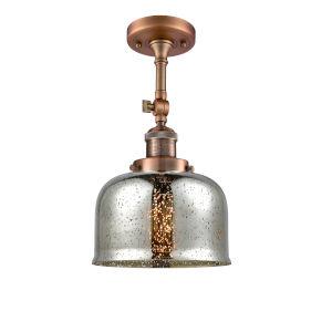 Large Bell Antique Copper One-Light Semi Flush Mount
