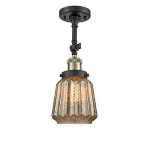Chatham Black Antique Brass 16-Inch LED Semi Flush Mount with Mercury Fluted Novelty Glass