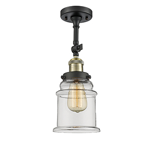 Canton Black Antique Brass 14-Inch LED Semi Flush Mount with Clear Bell Glass