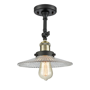 Halophane Black Antique Brass 11-Inch LED Semi Flush Mount with Halophane Cone Glass