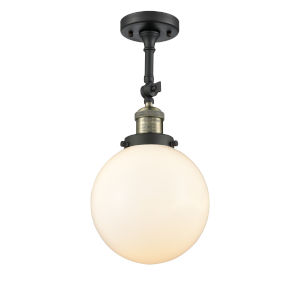 Franklin Restoration Black Antique Brass 16-Inch LED Semi-Flush Mount with Large Matte White Cased Beacon Shade