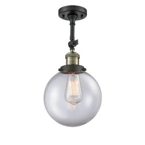Franklin Restoration Black Antique Brass 16-Inch LED Semi-Flush Mount with Large Clear Beacon Shade