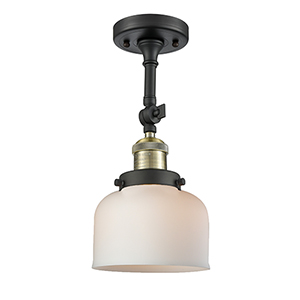 Large Bell Black Antique Brass LED Semi Flush Mount with Matte White Cased Dome Glass