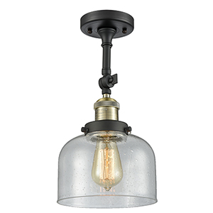 Large Bell Black Antique Brass 14-Inch One-Light Semi Flush Mount with Seedy Dome Glass