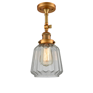 Chatham Brushed Brass 16-Inch LED Semi Flush Mount with Clear Fluted Novelty Glass