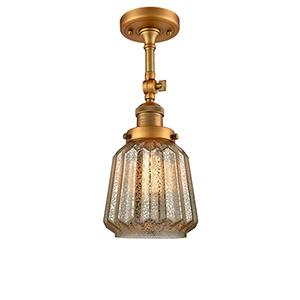 Chatham Brushed Brass 16-Inch LED Semi Flush Mount with Mercury Fluted Novelty Glass