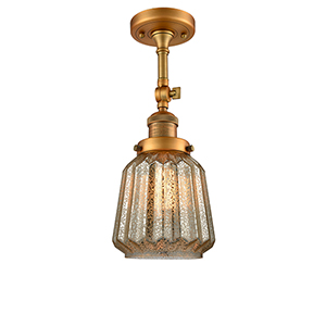 Chatham Brushed Brass 16-Inch One-Light Semi Flush Mount with Mercury Fluted Novelty Glass