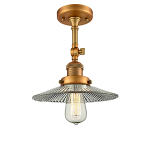 Halophane Brushed Brass 11-Inch LED Semi Flush Mount with Halophane Cone Glass