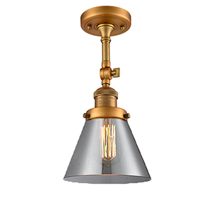 Large Cone Brushed Brass 14-Inch LED Semi Flush Mount with Smoked Cone Glass