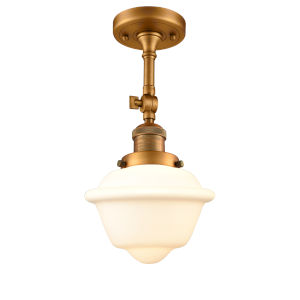 Franklin Restoration Brushed Brass 13-Inch One-Light Semi-Flush Mount with Matte White Cased Small Oxford Shade