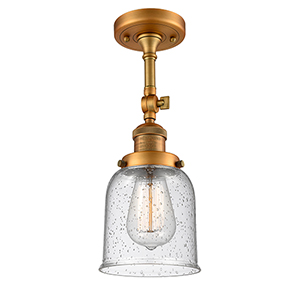 Small Bell Brushed Brass 14-Inch One-Light Semi Flush Mount with Seedy Bell Glass