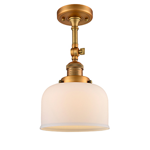 Large Bell Brushed Brass 14-Inch LED Semi Flush Mount with Matte White Cased Dome Glass