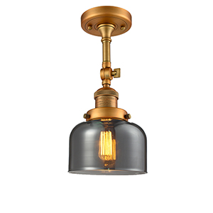 Large Bell Brushed Brass 14-Inch LED Semi Flush Mount with Smoked Dome Glass