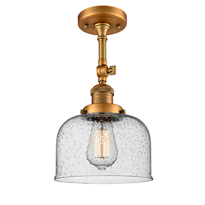 Large Bell Brushed Brass 14-Inch LED Semi Flush Mount with Seedy Dome Glass