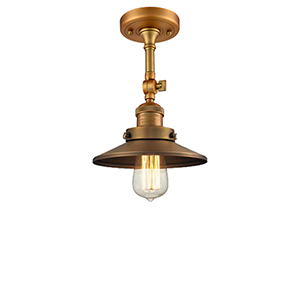 Railroad Brushed Brass Eight-Inch One-Light Semi Flush Mount