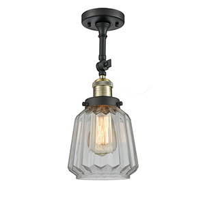 Chatham Black Brushed Brass 16-Inch LED Semi Flush Mount with Clear Fluted Novelty Glass
