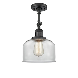 Large Bell Black Antique Brass 14-Inch One-Light Semi Flush Mount with Clear Dome Glass
