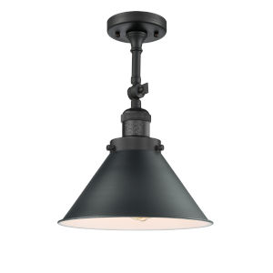 Franklin Restoration Matte Black 13-Inch One-Light Semi-Flush Mount with Briarcliff Matte Black Metal Shade