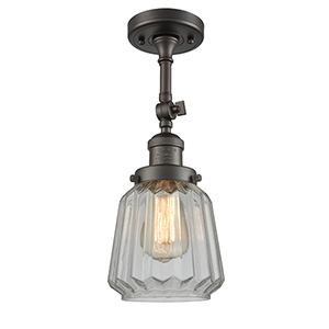Chatham Oiled Rubbed Bronze 16-Inch One-Light Semi Flush Mount with Clear Fluted Novelty Glass