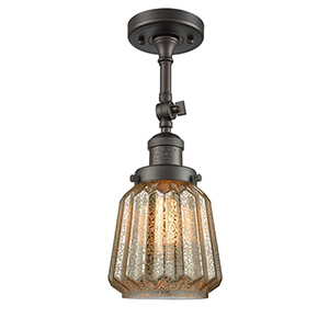 Chatham Oiled Rubbed Bronze 16-Inch One-Light Semi Flush Mount with Mercury Fluted Novelty Glass