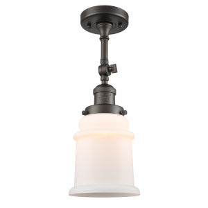 Franklin Restoration Oil Rubbed Bronze 14-Inch LED Semi-Flush Mount with Matte White Canton Shade
