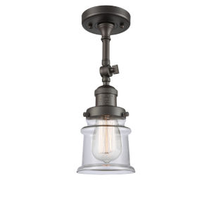 Franklin Restoration Oil Rubbed Bronze 14-Inch One-Light Semi-Flush Mount with Small Clear Canton Shade
