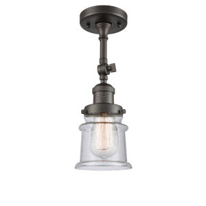 Franklin Restoration Oil Rubbed Bronze 14-Inch One-Light Semi-Flush Mount with Seedy Canton Shade