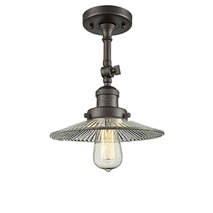 Halophane Oiled Rubbed Bronze 11-Inch LED Semi Flush Mount with Halophane Cone Glass