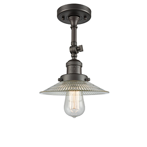 Halophane Oiled Rubbed Bronze 11-Inch One-Light Semi Flush Mount with Halophane Cone Glass