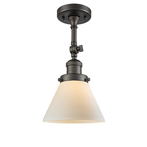 Large Cone Oiled Rubbed Bronze 14-Inch LED Semi Flush Mount with Matte White Cased Cone Glass