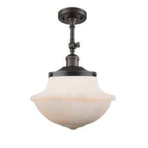 Franklin Restoration Oil Rubbed Bronze 16-Inch One-Light Semi-Flush Mount with Matte White Cased Large Oxford Shade