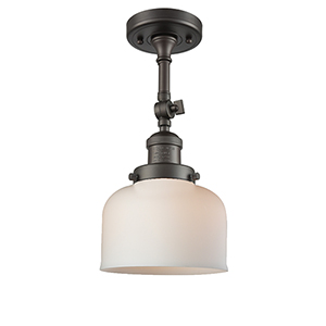 Large Bell Oiled Rubbed Bronze 14-Inch LED Semi Flush Mount with Matte White Cased Dome Glass