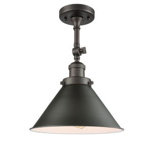 Franklin Restoration Oil Rubbed Bronze 13-Inch One-Light Semi-Flush Mount with Briarcliff Oil Rubbed Bronze Metal Shade