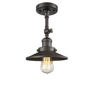 Railroad Oiled Rubbed Bronze Eight-Inch LED Semi Flush Mount