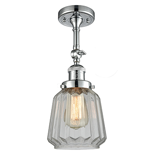 Chatham Polished Chrome 16-Inch One-Light Semi Flush Mount with Clear Fluted Novelty Glass