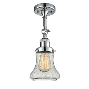 Bellmont Polished Chrome 14-Inch LED Semi Flush Mount with Seedy Hourglass Glass