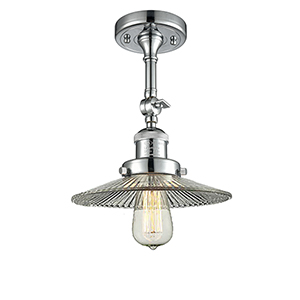 Halophane Polished Chrome 11-Inch LED Semi Flush Mount with Halophane Cone Glass