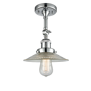 Halophane Polished Chrome 11-Inch One-Light Semi Flush Mount with Halophane Cone Glass