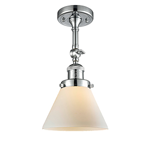 Large Cone Polished Chrome 14-Inch LED Semi Flush Mount with Matte White Cased Cone Glass