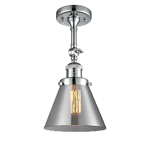 Large Cone Polished Chrome 14-Inch LED Semi Flush Mount with Smoked Cone Glass