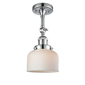 Large Bell Polished Chrome 14-Inch LED Semi Flush Mount with Matte White Cased Dome Glass