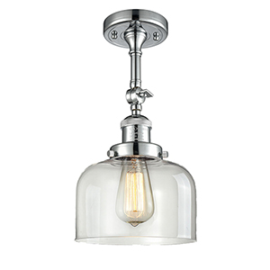 Large Bell Polished Chrome 14-Inch LED Semi Flush Mount with Clear Dome Glass
