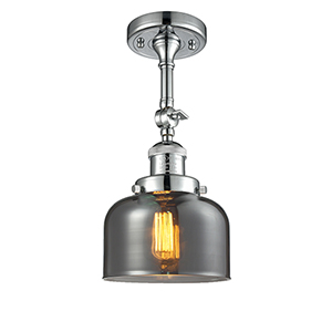 Large Bell Polished Chrome 14-Inch One-Light Semi Flush Mount with Smoked Dome Glass