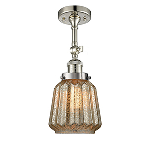 Chatham Polished Nickel 16-Inch One-Light Semi Flush Mount with Mercury Fluted Novelty Glass