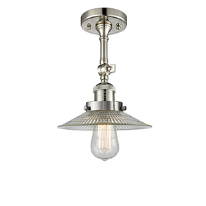 Halophane Polished Nickel 11-Inch One-Light Semi Flush Mount with Halophane Cone Glass