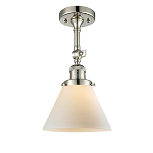 Large Cone Polished Nickel 14-Inch LED Semi Flush Mount with Matte White Cased Cone Glass