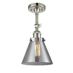 Large Cone Polished Nickel 14-Inch LED Semi Flush Mount with Smoked Cone Glass